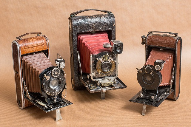 Old photo cameras