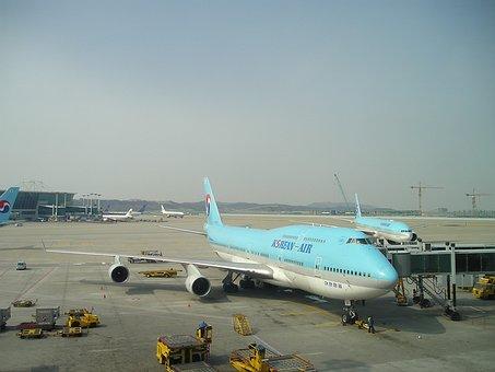 航空機, 韓国, ボーイング, 747, 大韓航空, 空港, 航空, 飛行