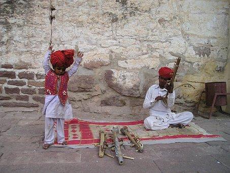 India Dance Child Music Street Musician In