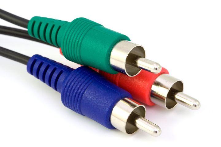 コンポーネント, ビデオ, ケーブル, つながる, 赤, 緑, 青, デジタル