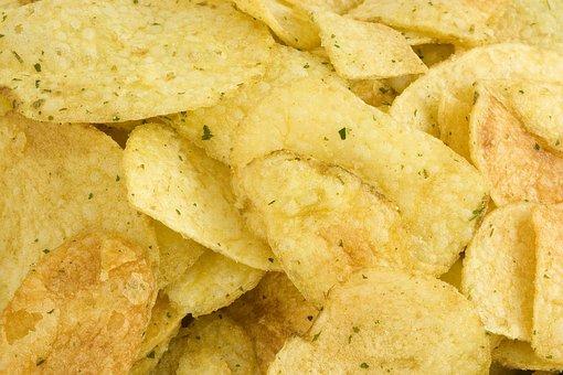 ポテトチップス, 黄色, 背景, 塩, 塩辛い, ジャガイモ, 石油, 脂肪