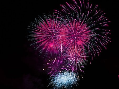 Fireworks, Celebration, Bright, Pink