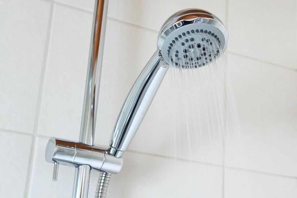 お風呂, バスルーム, 明るい, クロム, クリーン, 冷, クール, 液滴, 滴, 流, 頭, ホット