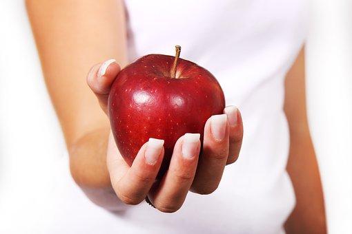 アップル, ダイエット, 女性, 食品, 新鮮な, フルーツ, 女の子, 手