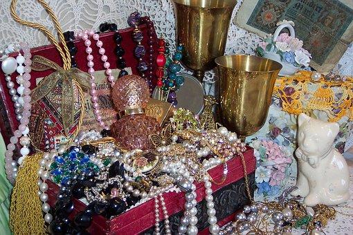 Viktorianischen, Schatz, Brust, Pokale