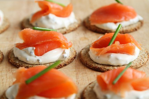 Appetizer, Salmon, Canape, Cheese