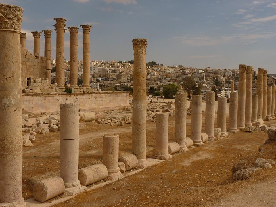 アルテミス神殿, ゲラサ, ジェラシュ, ヨルダン, 休日, 旅行, 中東, 破滅, 石, 柱
