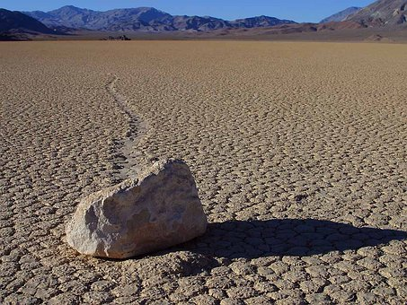Wandering Rocks Stones Death Valley Wind U
