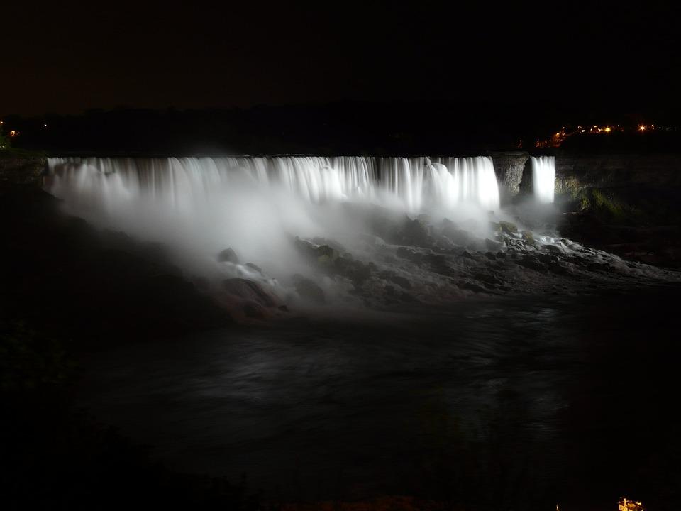 Niagara Falls, Niagara, Wody, Wodospad, Noc