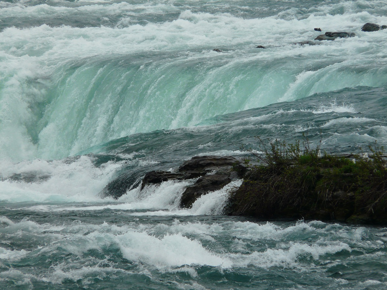 Erosion at the base of Niagara Falls (USA) undermines the shale cliffs and as a result, the falls have receded approximately 7 miles over the last 10,000 years.