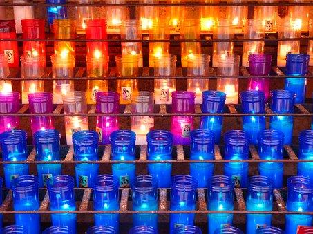 キャンドル, カラフル, お墓の光, 色, 光, 熱, 燃やす