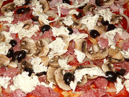 Pizza Topping, Pizza, Mushrooms, Olive