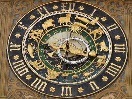 天文時計, クロック, 時間, 時間の, 日付, 日, 1 ヶ月, 年, 黄道帯