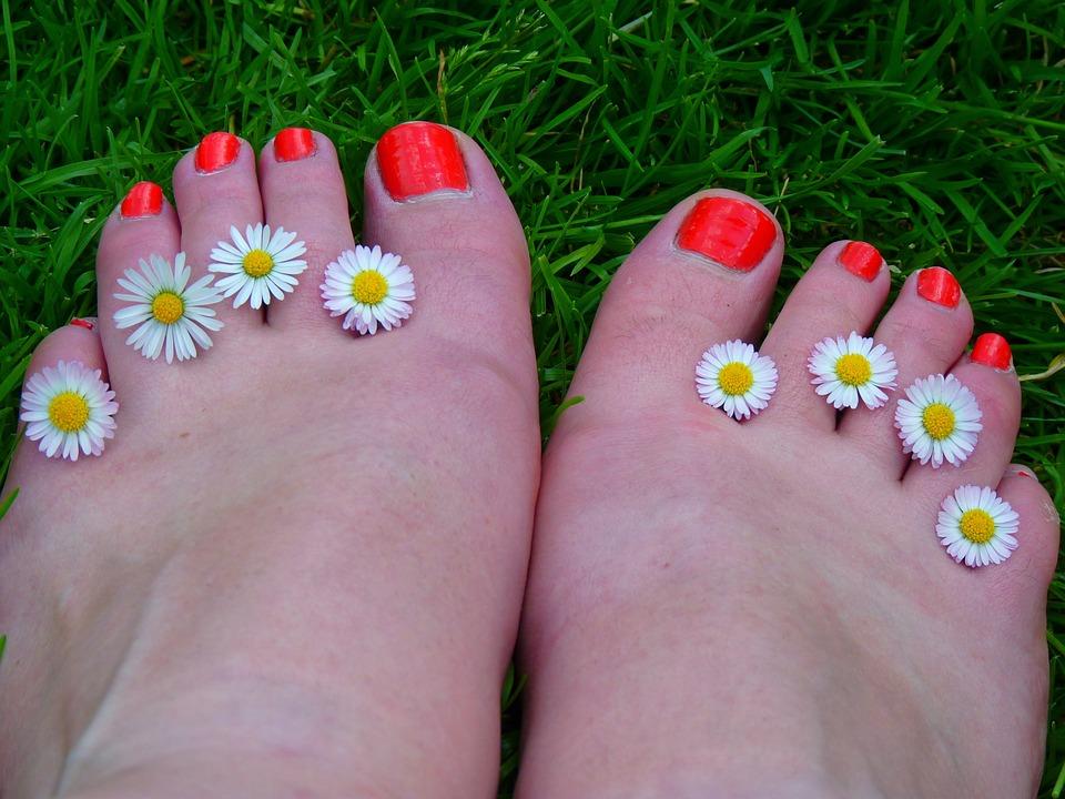 Feet, Ten, Nail Varnish, Bright, Orange, Anatomy, Daisy