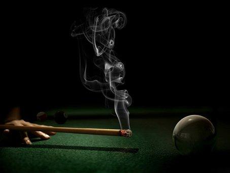 At, Billiards, With, Cigarette