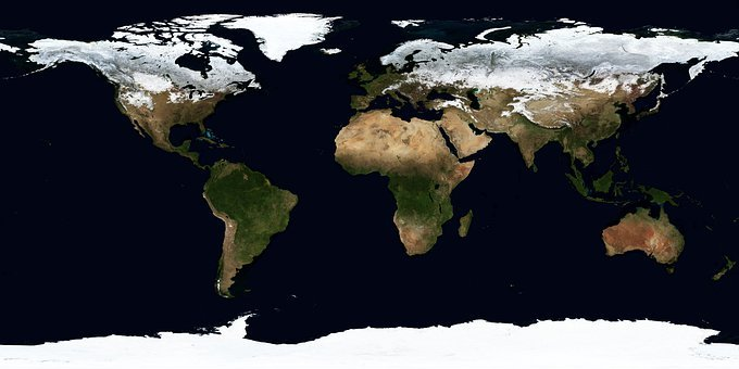 Earth, Map, Winter, January, Continents