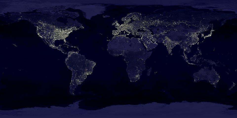 地球, 世界, 地図, 大陸, 土地, 衛星画像, 衛星地図, 暗い, 泊