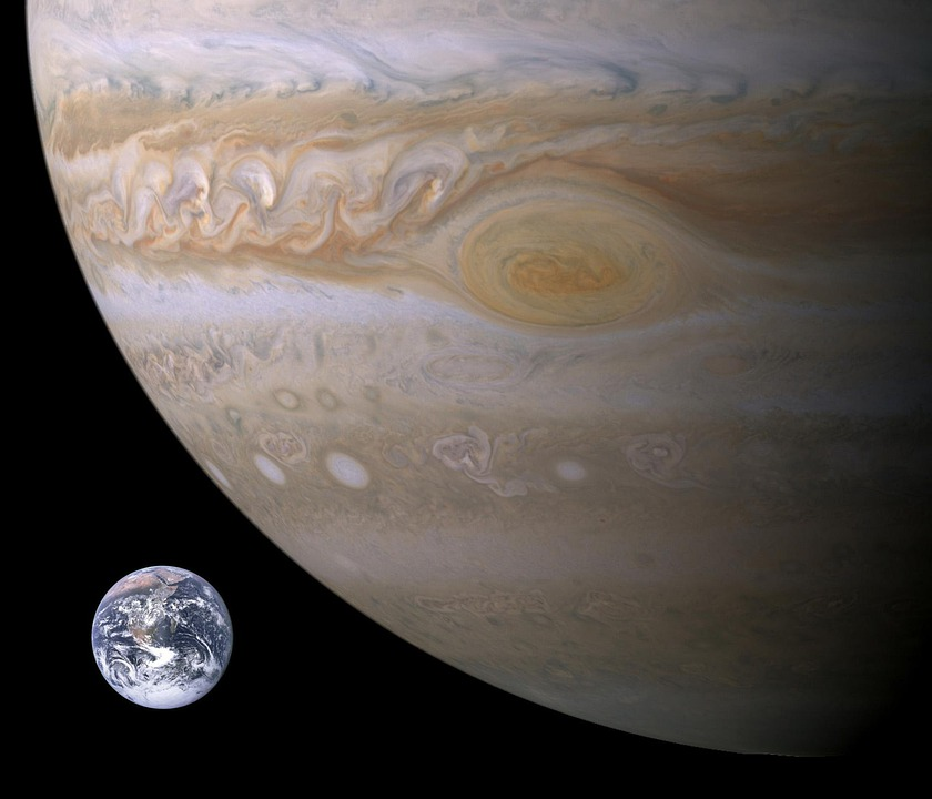 Jupiter, Planet, Earth, Size Comparison, Big Red Stains