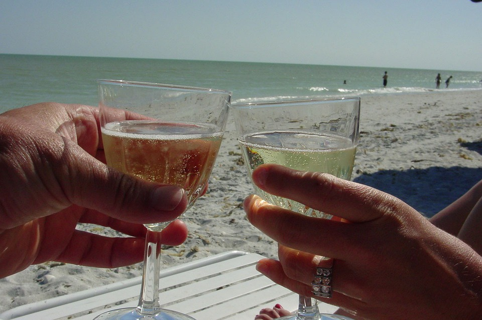 Champagne, Beach, Sand, Toast, Love, Marriage