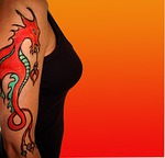 tattoo, temporary, dragon