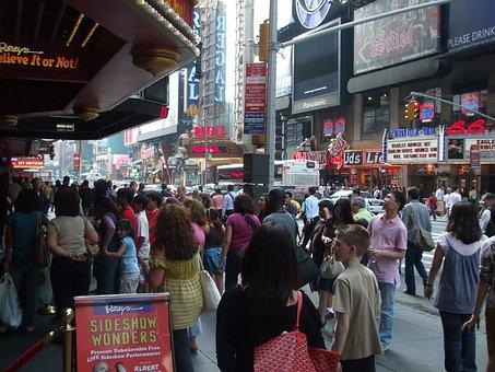 New, York, Manhattan, Street, Crowd