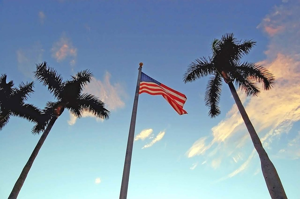 Vlag, Amerikaanse, Palm, Flagstaff, Vlaggenmast
