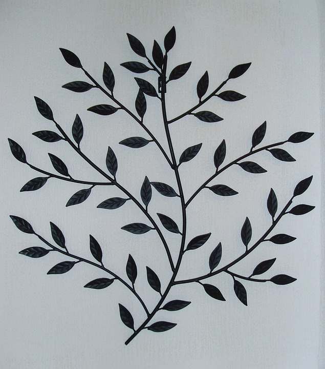 Metal Wall Art Leaves Branch Black