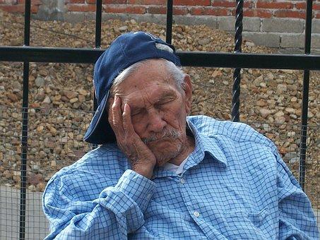 祖父, 古い, 老人, 睡眠, 休憩, 残り