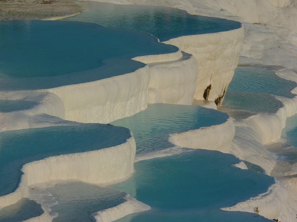 Pamukkale, Travertine, สระว่ายน้ำ, สีฟ้า, สีฟ้าคราม
