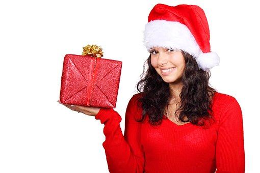 Box, Christmas, Claus, Cute, Female