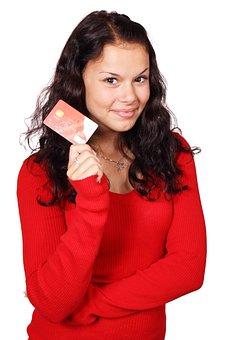 ビジネス, カード, クレジット, デビット カード, 女性, ファイナンス