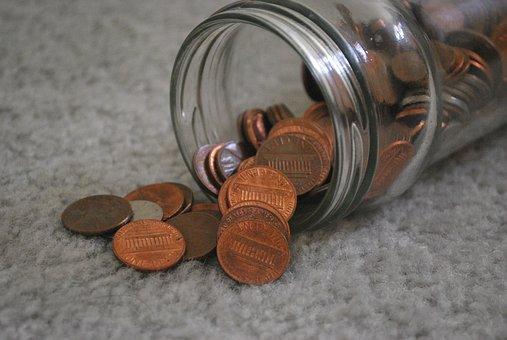 Pennies, Coin, Coins, Money, Jar, Spill