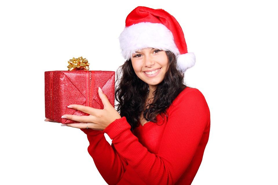 Free Photo Box Christmas Claus Cute Female Free