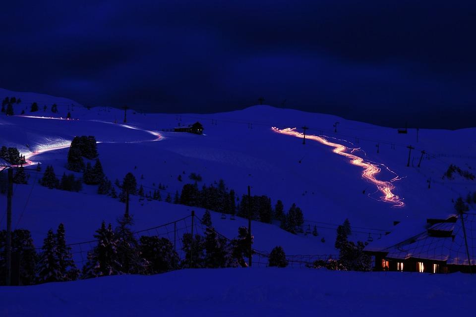 Alpes, Frío, Luz, Luces, Movimiento, Montaña, Noche