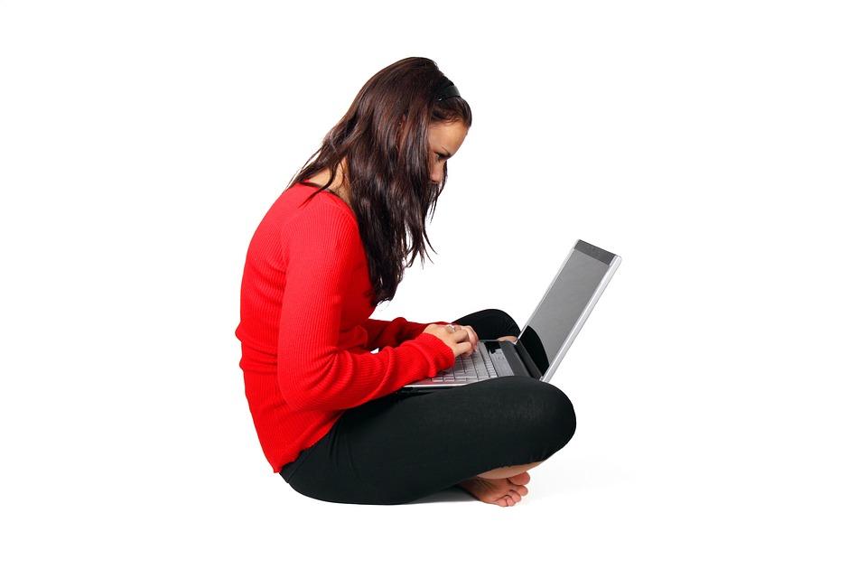 Počítače, Žena, Děvče, Izolovaný, Laptop, Moderní, Lidé
