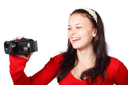 ビデオカメラ, カメラ, デジタル, 機器, 女性, 撮影, 楽しい, 女の子