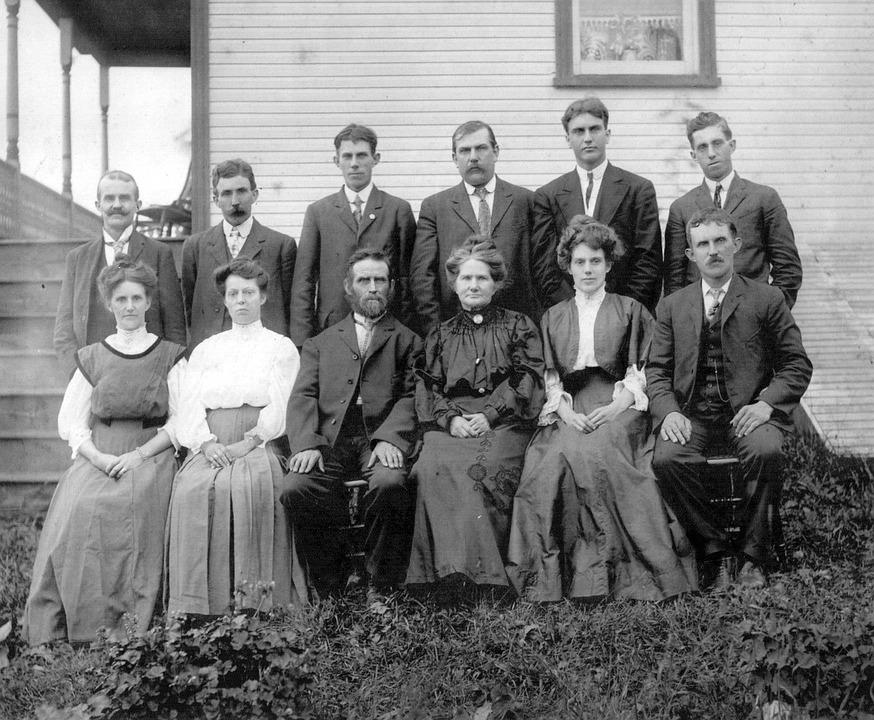 Mensen, Groep, Familie, Oude, Historische, Zwart Wit