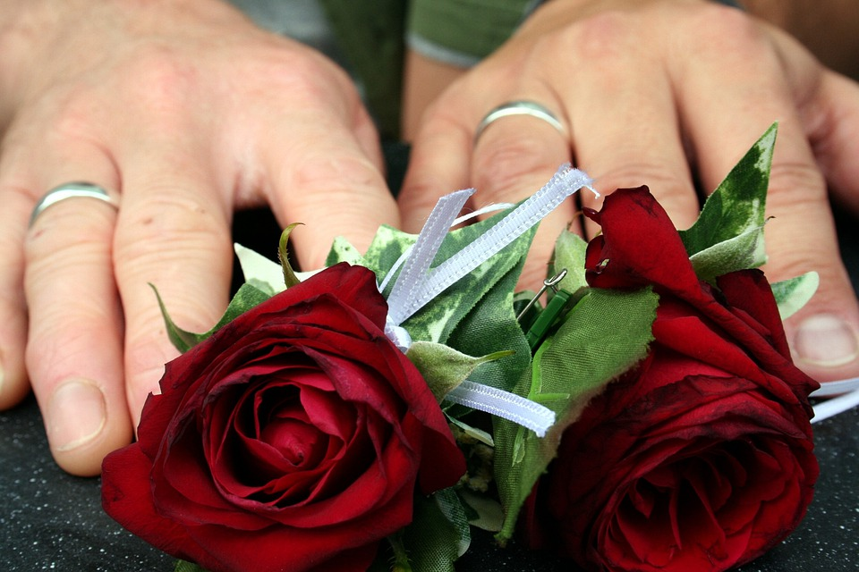 結婚式, バラ, リング, 手, 愛, ロマンチック, 花束, 花柄, ロマンス, 結婚, ブライダル