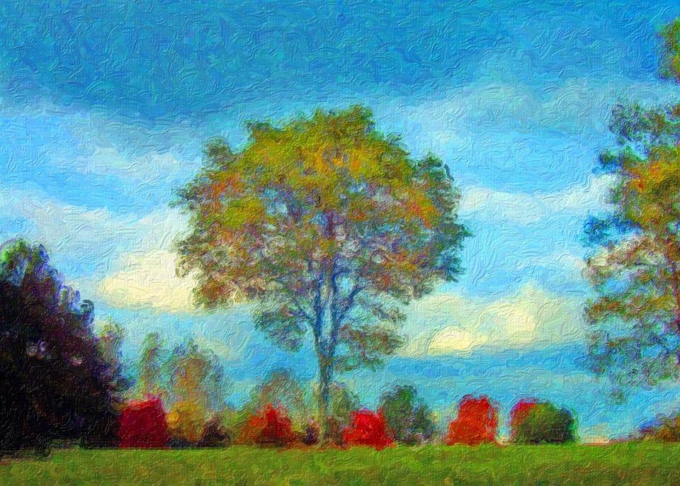 Ilustrasi gratis Lukisan Pohon  Musim Gugur Daun
