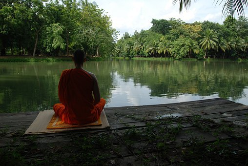 Meditation Lake Buddhist Tranquility Conce