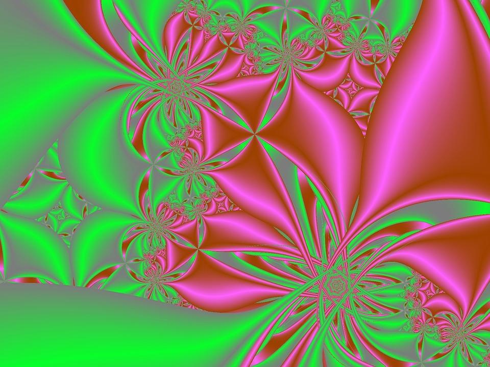 Pink, Green, Fractal, Satin, Like, Color, Design