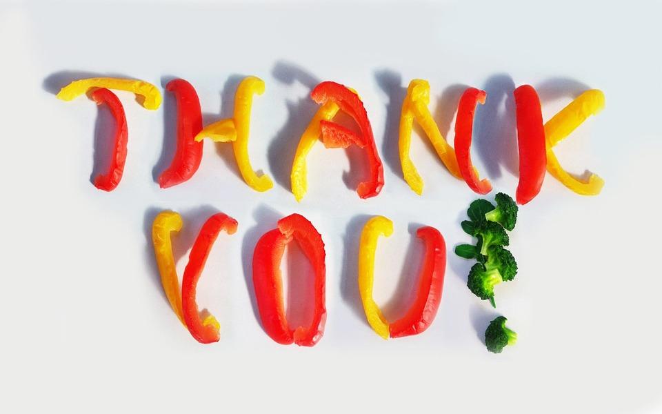 ありがとうございます, あなた, パプリカ, ブロッコリー, 赤, 黄色, メッセージ, おかげで