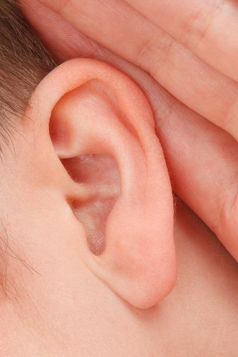 クローズ アップ, 通信, 聴覚障害者, 耳, 女性, 女の子, ゴシップ, 手, 頭, 聞く, 人間
