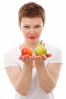 アップル, ダイエット, 顔, 食品, 新鮮な, フルーツ, 女の子, 分離