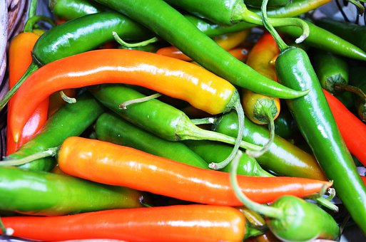 Chili, Peppers, Orange, Red, Green