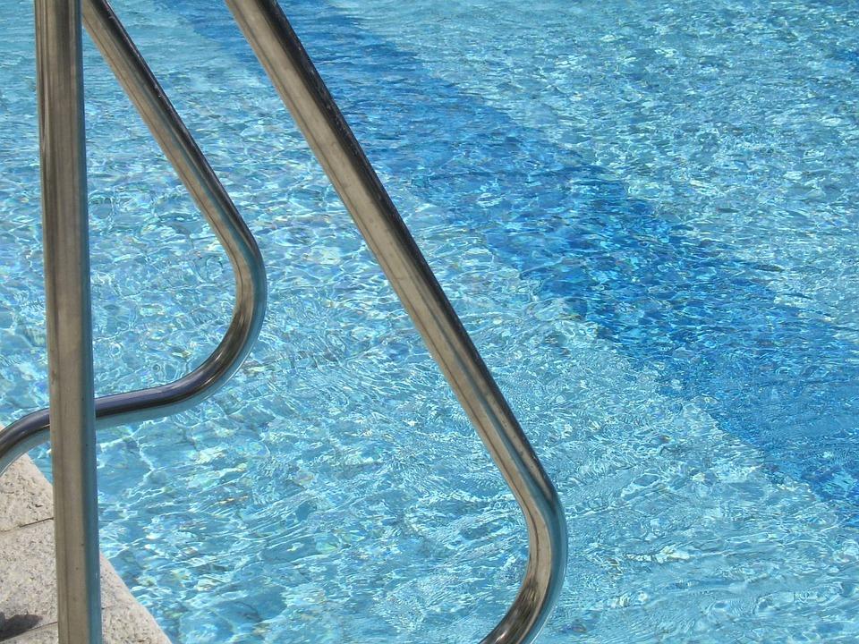 pool metal handrails