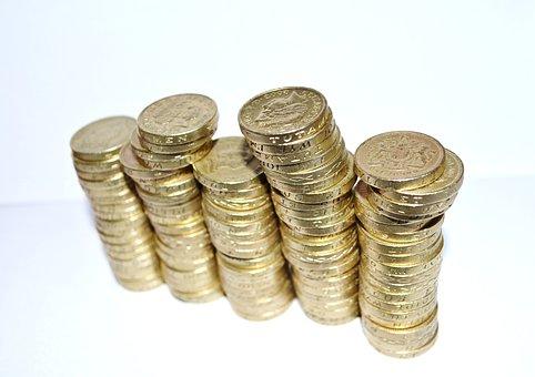 背景, イギリス, 予算, ビジネス, 現金, 変更, コイン, 通貨