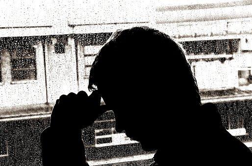 うつ病, 男, 夫婦, ステータス, 気分, 人, 病気, 孤独, シルエット