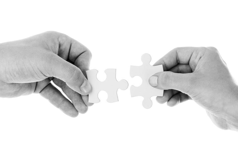 Manos, Piezas Del Rompecabezas, Conectar, Conexión