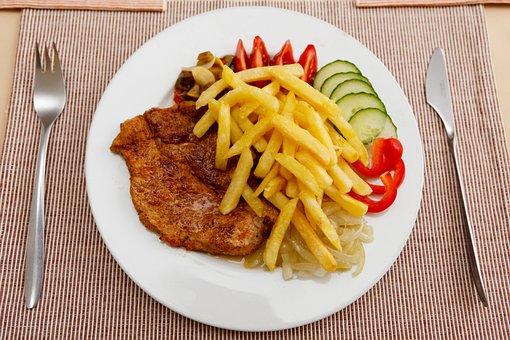 牛肉, チップ, ダイエット, 夕食, 皿, 食べる, 食品, フランス